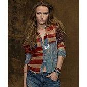 Edgy and prep Denim & Supply Ralph Lauren Top, Long-Sleeve American Flag Utility Shirt M