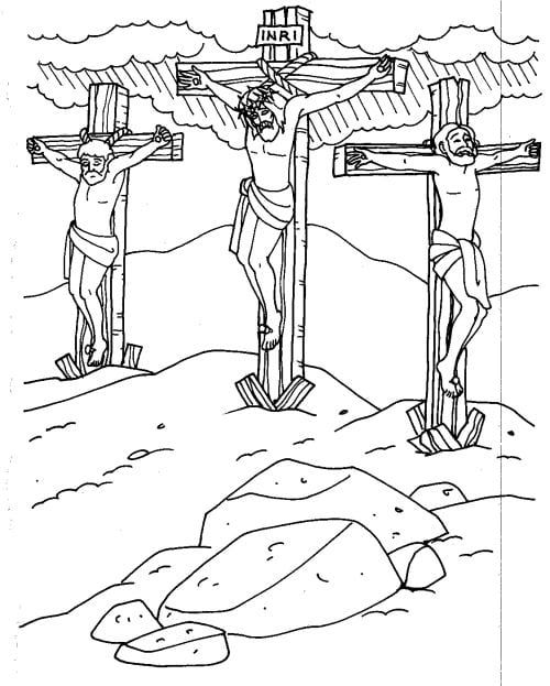 Coloring Pages Jesus Died On The Cross Bible Coloring Cross