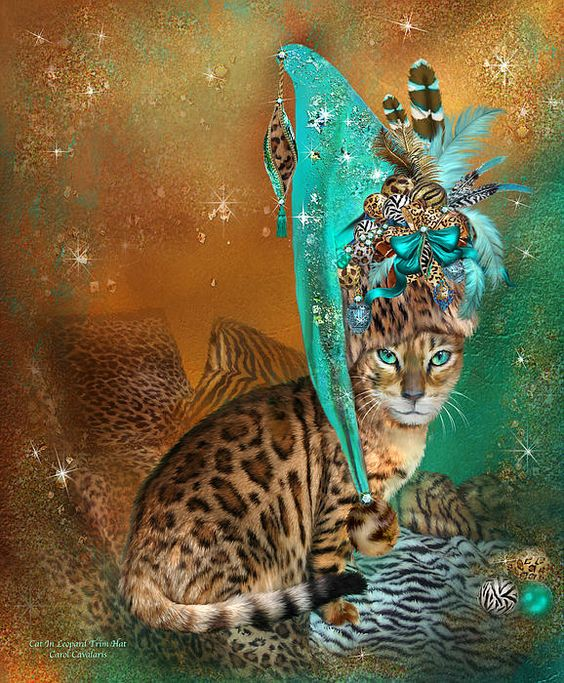 Cat In Leopard Trim Santa Hat art by Carol Cavalaris. Just imagine A big sly Bengal cat Wearing a very fancy Santa hat Piled as high as the sparkling sky With animal print ornaments Feathers and ribbons galore It doesn't get Any wilder than that. Cat In Leopard Trim Hat prose by Carol Cavalaris
