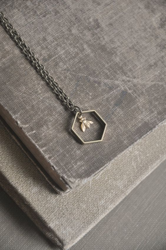 tiny bee necklace by bellehibou | Call A1 Bee Specialists in Bloomfield Hills, MI today at (248) 467-4849 to schedule an appointment if you've got a stinging insect problem around your house or place of business! You can also visit www.a1beespecialists.com!