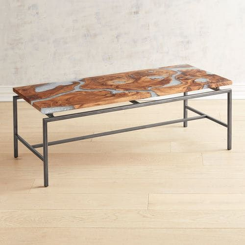 Moraine Wood Clear Resin Coffee Table Coffee Table Round