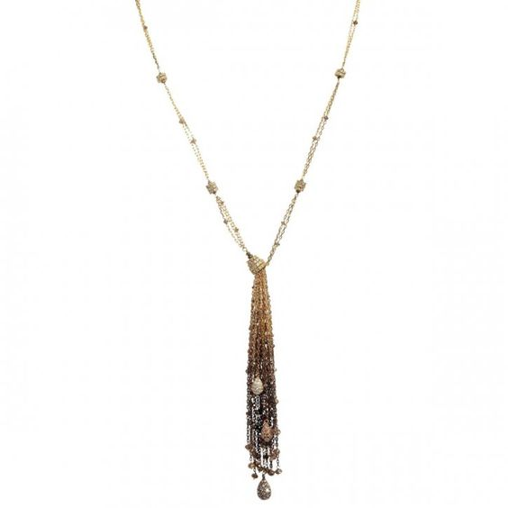 Tassel pendant made of brown and white diamonds by Mariani