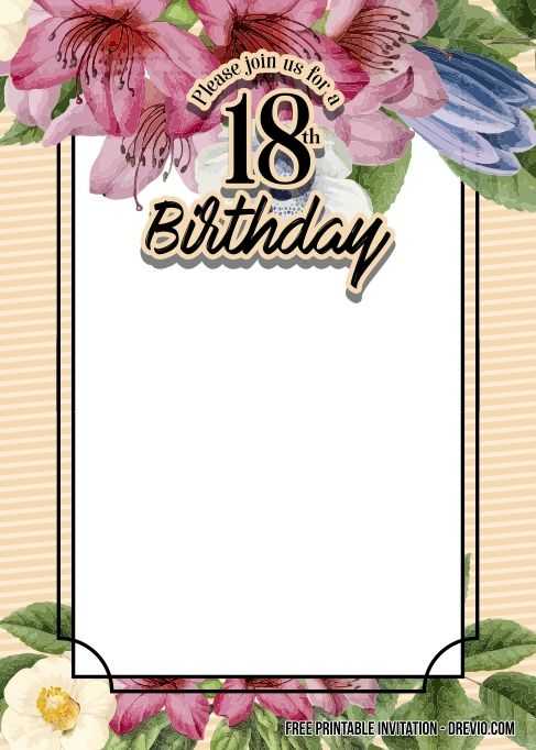 Free Printable 18th Birthday Invitation Templates Birthday Invitation Templates Birthday Invitations Free Printable Invitations