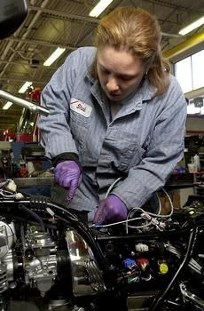 girl mechanic a more common site these days of equality in the workplace