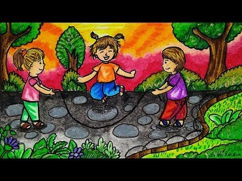 Cara Menggambar Tema Persahabatan Dan Permainan Tradisional