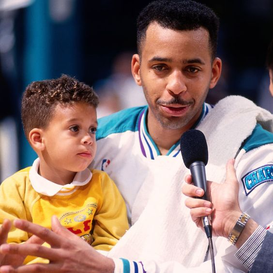 Dell Curry with his youngest son Seth Curry, 1990s