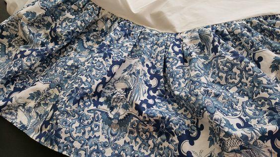 Bedskirt Full RALPH LAUREN Ruffled Asian Tamarind Nanking Porcelain Rosette Indigo White Vintage by BeautyFromThePast on Etsy