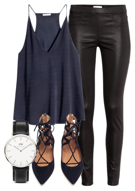 """""""Untitled #4386"""" by laurenmboot ❤ liked on Polyvore featuring H&M, Aquazzura and Daniel Wellington"""