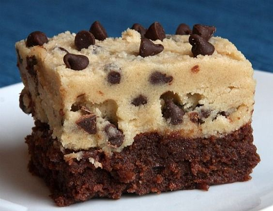 A great recipe for the Fourth of July.  Egg free cookie dough recipe with brownie on the bottom.