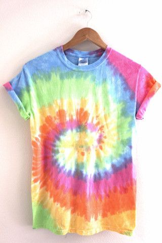 Pastel rainbow tie-dyed 100% cotton t-shirt. Please note: Each tie-dyed tee is hand dyed and slightly unique. Washing instructions: Machine wash inside out in very cold water, dry normally. Slight fading may occur.