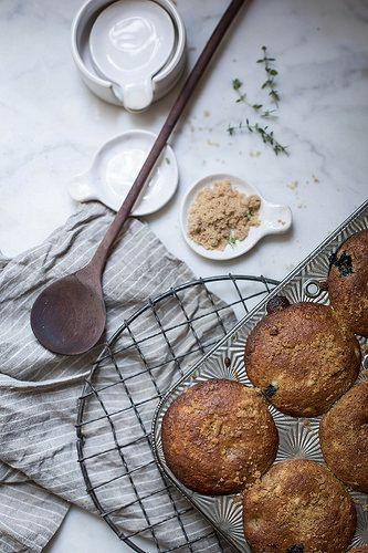 blueberry & cream cheese rye muffins + fringe & fettle ceramics x hackwith design house nesting spoons by Beth Kirby | {local milk}, via Fli...