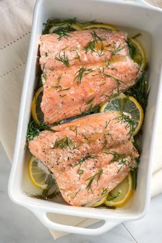 Mom's Baked Salmon with Lemon and Dill - This baked salmon recipe is simple and quick to make and makes salmon that's subtle and delicate.