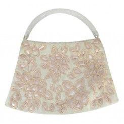Monsoon accessorize cream fabric handbag cutout applique flowers solid handle
