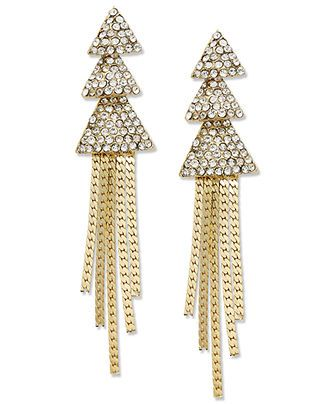 INC International Concepts Gold-Tone Crystal Pave Triangle Tassel Earrings