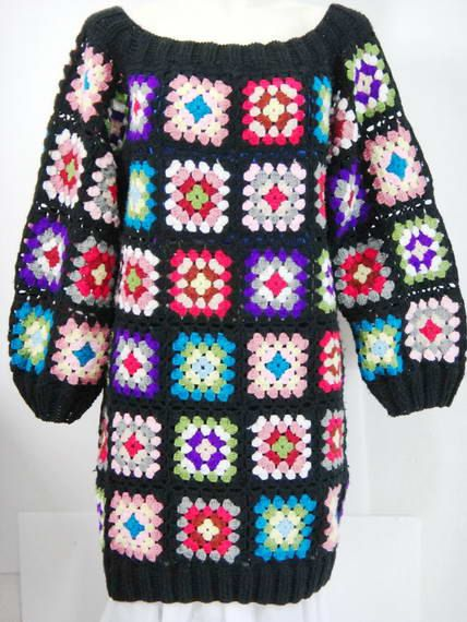 Vintage 60's 70's / Handmade Crochet Granny square  ,Sweater,   Made to order