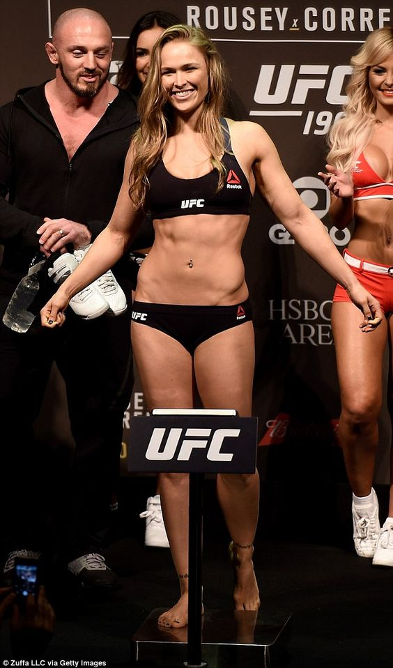 Training time: The blonde beauty, who has said she feels most beautiful at 150lbs, has to get down to 135lbs (pictured) for her UFC fights
