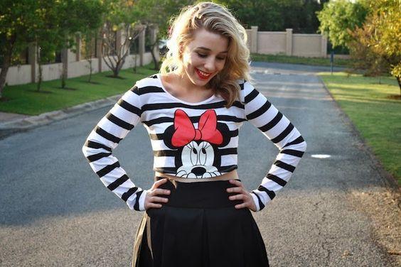 Minnie Mouse crop top, black Midi skirt, silver heels