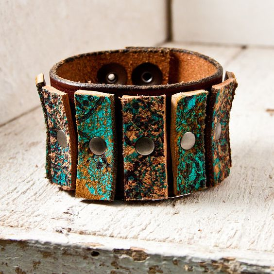 Turquoise Jewelry Leather Cuff $75