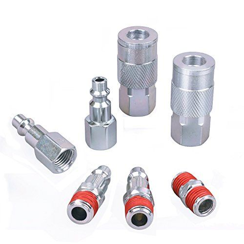 Wynnsky Air Coupler And Plug Kit 1 4 Npt Air Fittings Industrial Type I M 7 Piece Air Compressor Accessor Compressor Accessories Air Compressor Accessory Kits