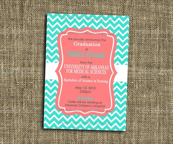 PRINTABLE INVITATIONS Turquoise and Coral by MemorableMomentsSt, $13.00
