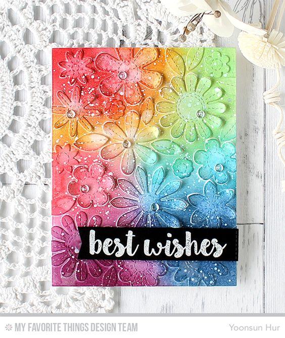 Sensational Stitched Flowers Card Kit - Yoonsun Hur #mftstamps