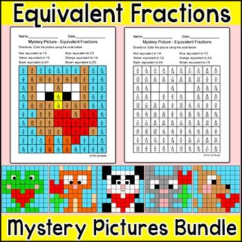 Valentine's Day Math - Equivalent Fractions Mystery Pictures Bundle: Practice equivalent fractions with these fun Valentine's Day theme mystery pictures! This activity is perfect for math centers, morning work, early finishers, substitutes or homework.: