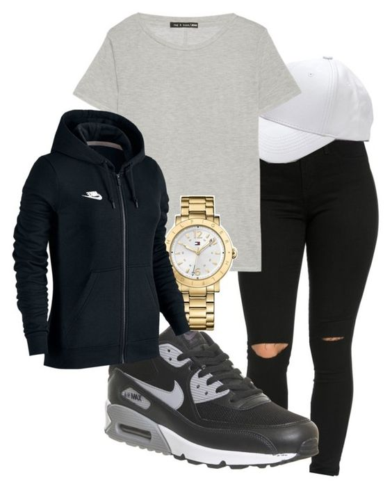 """""""Untitled #131"""" by rabiamiah on Polyvore featuring NIKE, rag & bone and Tommy Hilfiger"""