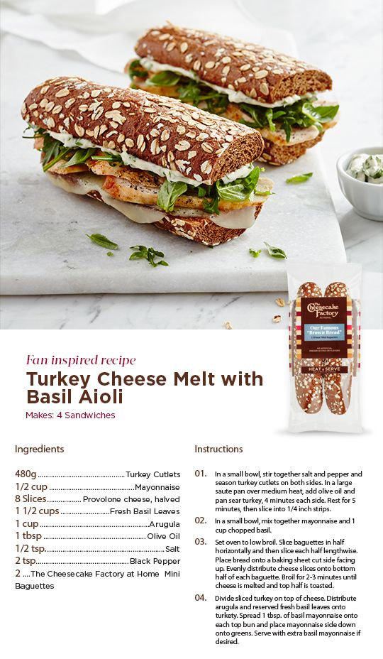 Upgrade Your Lunch With This Fan Inspired Recipe For A Turkey Cheese Melt With Basil Aioli Healthy Lunch Snacks Brown Bread Sandwich Recipes Restaurant Recipes