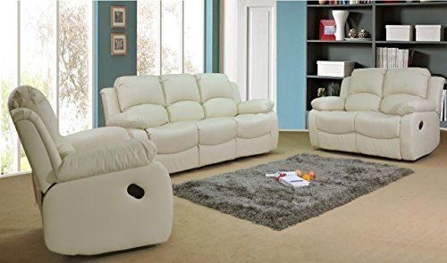 Valencia Cream Recliner Leather Sofa Suite 3 2 Seater Brand New 12 Months Warranty Free De Leather Sofa Living Room Leather Reclining Sofa Living Room Sofa Set