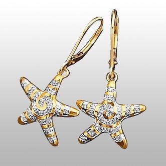 Ohrringe, Echt Gold 375