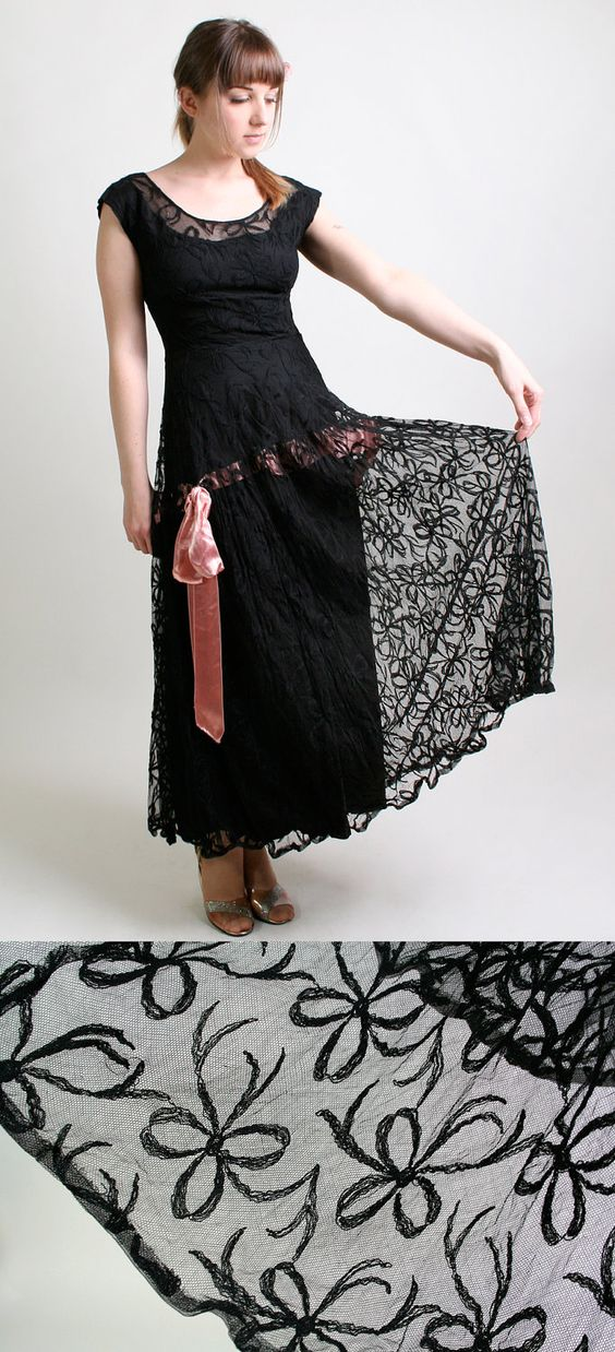 RESERVED - Vintage Lace Dress - Black 1930s Illusion Ribbon Bow Prom Gown - Small to Medium. $160.00, via Etsy.
