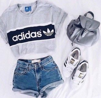 shirt adidas grey t-shirt cropped t-shirt adidas superstars outfit bag adidas shirt shorts adidas shoes
