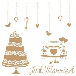 Stencil Deco Vintage Composición 169 Just Married