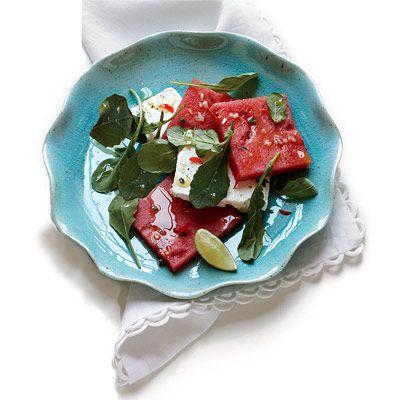 Watermelon and Feta Salad with Serrano Chile Vinaigrette: