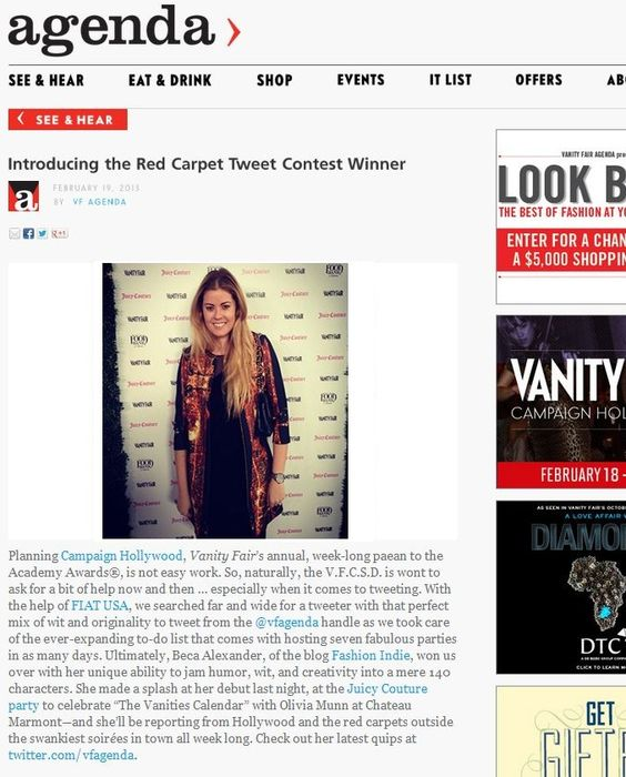 Clover Canyon   Beca Alexander wearing CC in Vanity Fair, 2/19/2013