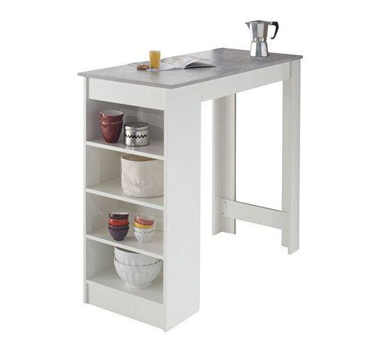 Bar Design Colada Blanc Et Beton Table Bar Amenagement Salle A Manger Meuble Bar Cuisine