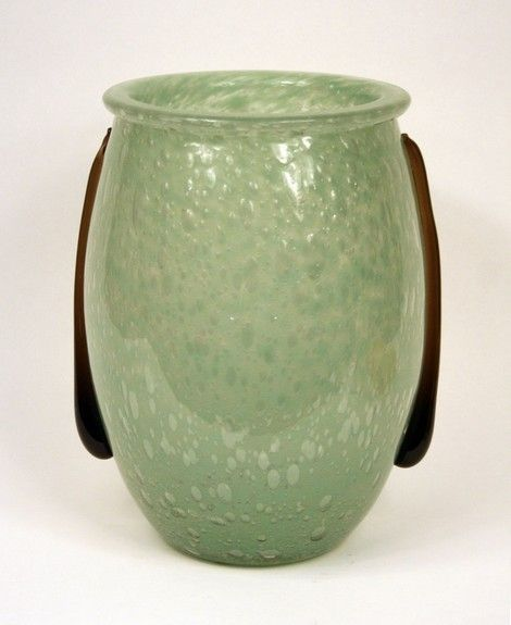 "Charles Schneider's ""Larmes"" Vase. Jade green powdered bubbled glass vase with two mauve glass tears applied. Measures 12 3/4 inches in height X 8 1/4 inches in opening MAde in France Circa 1924-1925"
