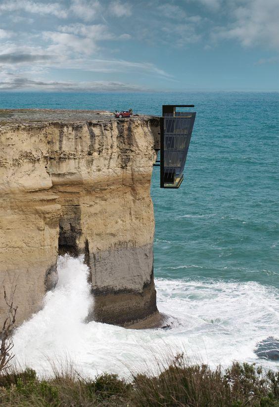 Ferienhaus - Das Klippenhaus in Australien hoch über dem Meer für Schwindelfreie. - phantastisch.org/designer-ferienhaus-in-australien/