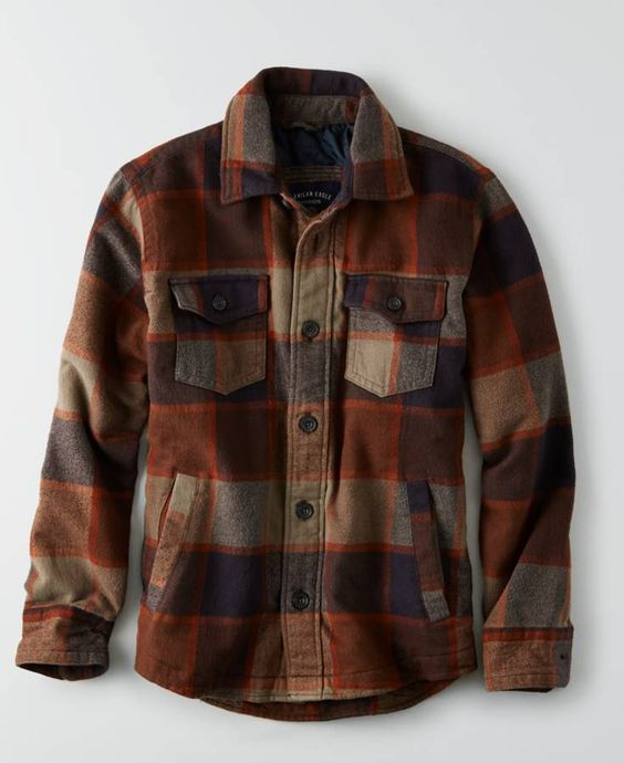 American Eagle Flannel Jacket (Coat) Men&39s Brown | *Clothing