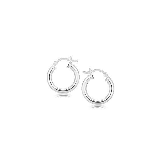 Sterling Silver Polished Hoop Style Earrings with Rhodium Plating (15mm)