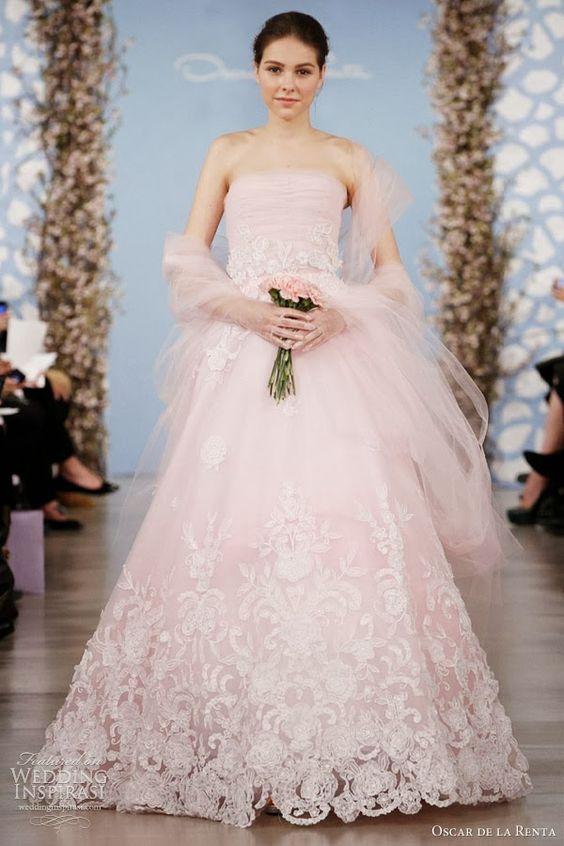 Pink Blush Wedding Dress Favorable #blushweddings #pinkweddings