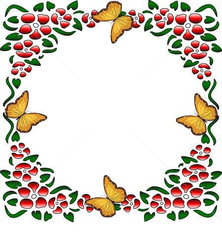 Red Flowers with butterfly borders design | Bordes y ...