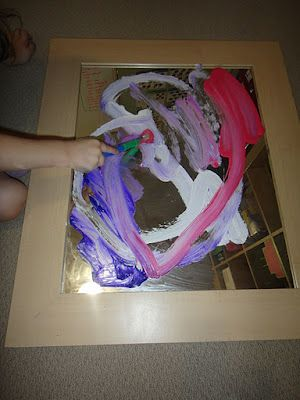 Painting on a mirror! Pre-writing skill, hand movements with reflection!