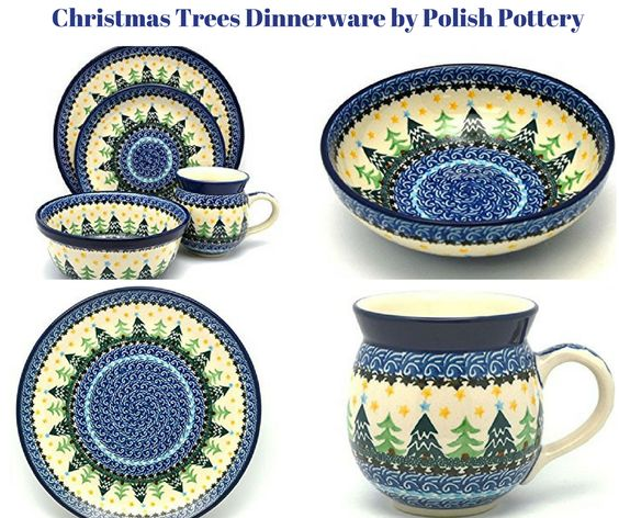 Christmas Trees Dinnerware by Polish Pottery