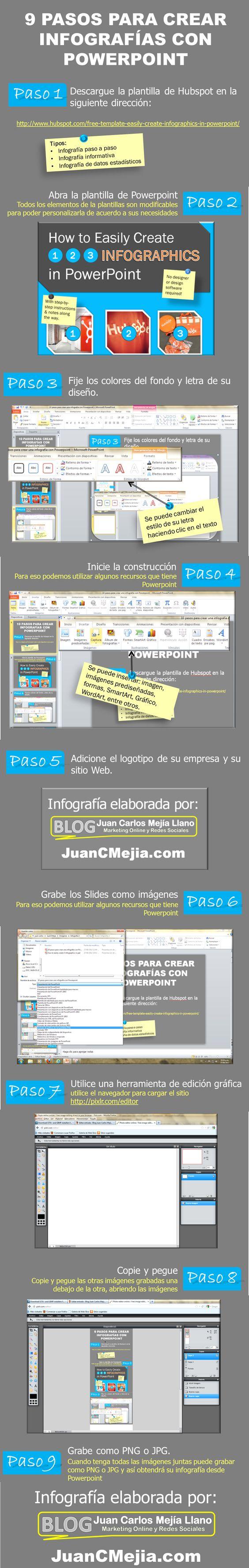 Infografía en español que muestra 9 pasos para crear infografías con PowerPoint. Excelente opción para no diseñadores