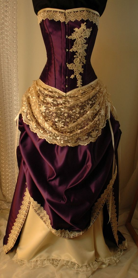 Antique ivory and cadbury purple bridal gown in a for Purple and ivory wedding dresses