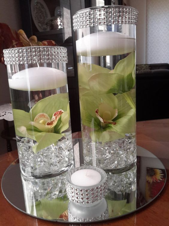 Bling cylinder floral floating candle centerpiece set with - Candle and mirror centerpieces ...