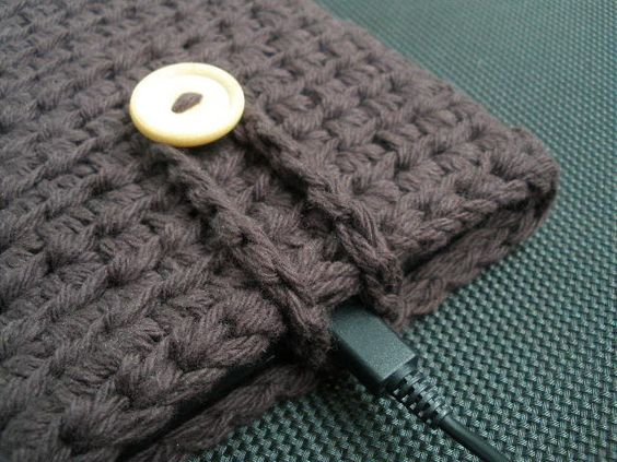 Kindle Fire eReader Cover Sleeve in Dark Brown Espresso 100% Cotton Crochet - Ready-to-ship. $24.99, via Etsy.
