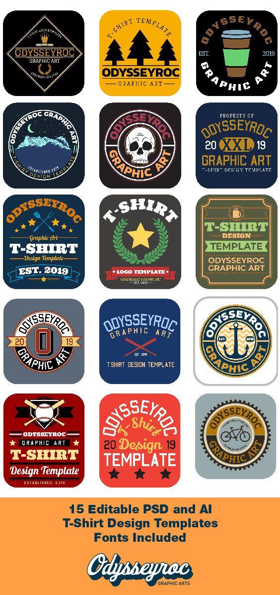 T Shirt Design Templates 15 Commercial Use Logo Design Etsy T Shirt Design Template Free T Shirt Design Template Design