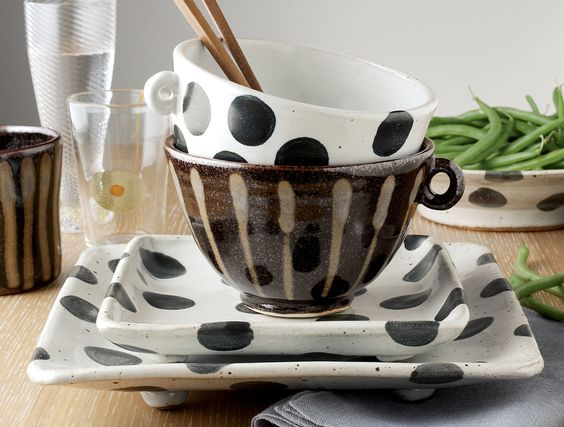 Patterned Stoneware: Sandwich and Entree Plates in Black Dot and Gold Stripe by…: